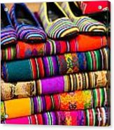 Colorful Fabric At Market In Peru Acrylic Print