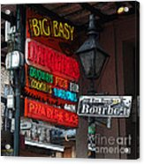 Colorful Neon Sign On Bourbon Street Corner French Quarter New Orleans Poster Edges Digital Art Acrylic Print