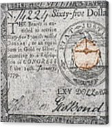 Continental Currency, 1779 Acrylic Print