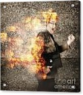 Crazy Businessman Running Engulfed In Fire. Late Acrylic Print