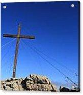Cross At Capu Di A Veta Near Calvi In Corsica Acrylic Print