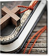 Cross On Bible Acrylic Print