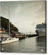 Cruise Ship At Port, Kingstown, Saint Acrylic Print