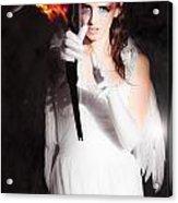 Cupid Angel Of Romance Setting Hearts On Fire Acrylic Print