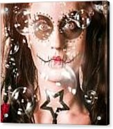 Day Of The Dead Girl Blowing Party Bubbles Acrylic Print