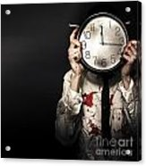 Dead Business Person Holding End Of Time Clock Acrylic Print