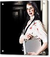 Dead Female Zombie Worker Holding Briefcase Acrylic Print