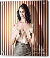 Dead Set Business Woman Ready With Thumbs Up Acrylic Print