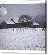December Moonrise Farmstead Acrylic Print