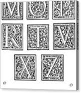 Decorative Initials, C1600 Acrylic Print