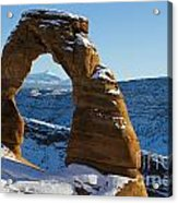 Delicate Arch With Snow Arches National Park Utah Acrylic Print