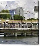 Digital Oil Painting - Visitors On Viewing Plaza On Singapore River Next To The Merlion Acrylic Print