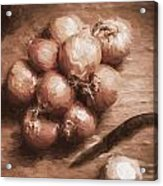 Digital Painting Of Brown Onions On Kitchen Table Acrylic Print