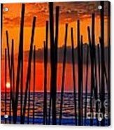 Digital Painting Of Looking Through Beach Umbrella Poles At Sunset Acrylic Print