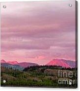Distant Yukon Mountains Glowing In Sunset Light Acrylic Print