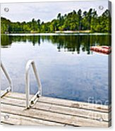 Dock On Calm Lake In Cottage Country Acrylic Print