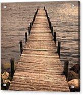 Dock On Mountain Lake Acrylic Print