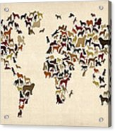 Dogs Map Of The World Map Acrylic Print