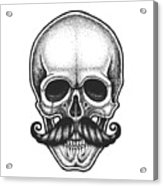 Dotwork Styled Skull With Moustache Acrylic Print