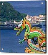 Dragon Sculpture On Roof Acrylic Print