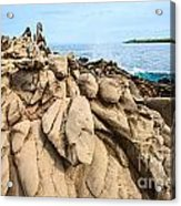 Dramatic Lava Rock Formation Called The Dragon's Teeth In Maui. Acrylic Print