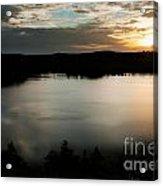 dramatic sky sunset over Aboda Klint lake Sweden Acrylic Print