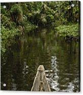 Dugout Canoe In Blackwater Stream Acrylic Print