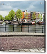 Dutch Houses By The Amstel River In Amsterdam Acrylic Print