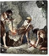Early Humans Making Fire Acrylic Print
