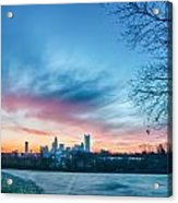 Early Morning Sunrise Over Charlotte City Skyline Downtown Acrylic Print