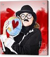 Eccentric Man Showing World Love By Cuddling Globe Acrylic Print