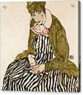 Edith With Striped Dress Sitting Acrylic Print