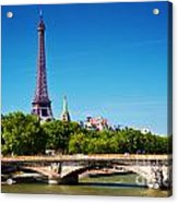 Eiffel Tower And Bridge On Seine River In Paris France Acrylic Print