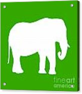Elephant In Green And White Acrylic Print