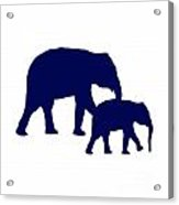 Elephants In Navy And White Acrylic Print