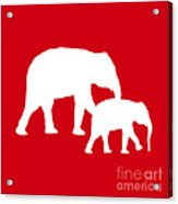 Elephants In Red And White Acrylic Print
