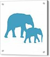 Elephants In White And Turquoise Acrylic Print