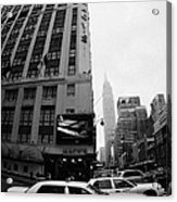 Empire State Building Shrouded In Mist As Yellow Cabs Crossing Crosswalk On 7th Ave And 34th Street Acrylic Print