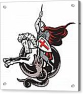 English Knight Fighting Dragon England Flag Shield Retro Acrylic Print