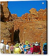 Entering Mile-long And 600 Foot High Gorge Leading To Treasury In Petra-jordan  Acrylic Print