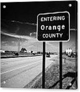 Entering Orange County On The Us 192 Highway Near Orlando Florida Usa Acrylic Print