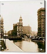 Erie Canal On Salina Street In Syracuse New York - Circa 1904 Acrylic Print