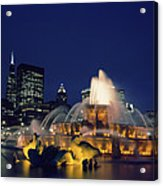 Evening At Buckingham Fountain - Chicago Acrylic Print