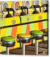 Evergreen State Fair Midway Game With Coloful Stools And Squirt  Acrylic Print
