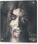 Evil Dead Vampire Woman Looking In Bloody Window Acrylic Print