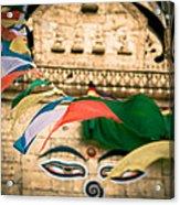 Eye Boudhanath Stupa In Nepal Acrylic Print by Raimond Klavins