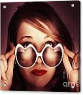 Face Of Cool Fashion Woman In Retro Summer Love Acrylic Print