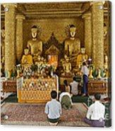 faithful Buddhists praying at Buddha Statues in SHWEDAGON PAGODA Acrylic Print
