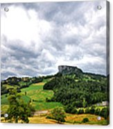 famous Bismantova rock in the north of Italy Acrylic Print
