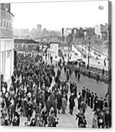 Fans Leaving Yankee Stadium. Acrylic Print